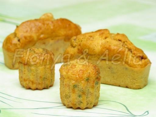 Mini cannelés jambon et petit-suisse persillé